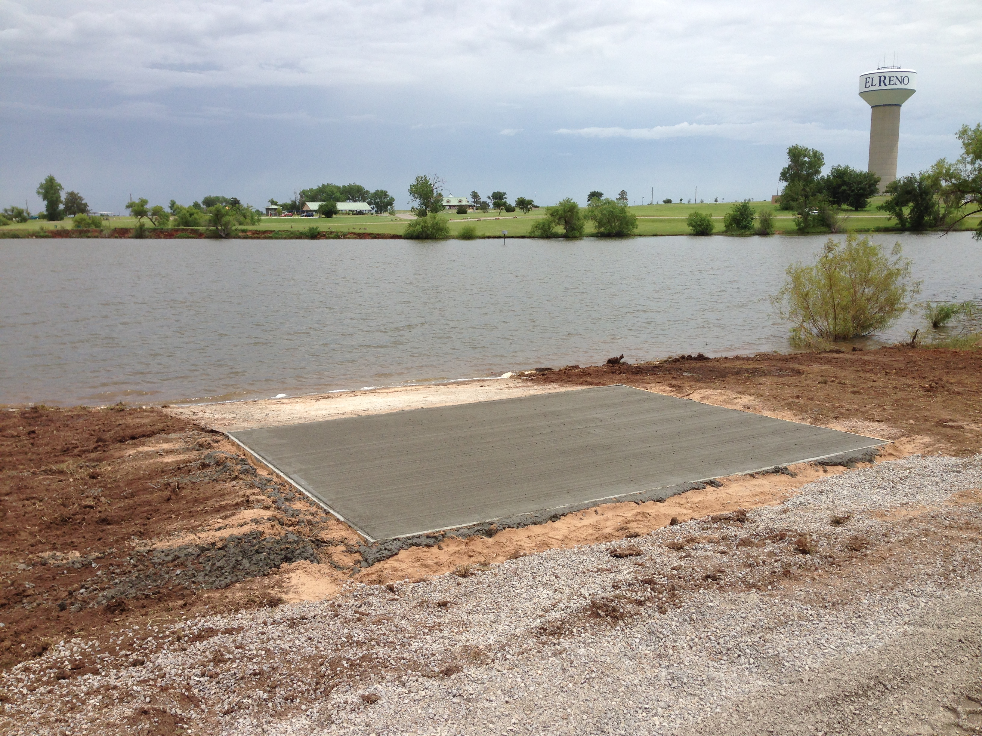 The boat ramp during construction