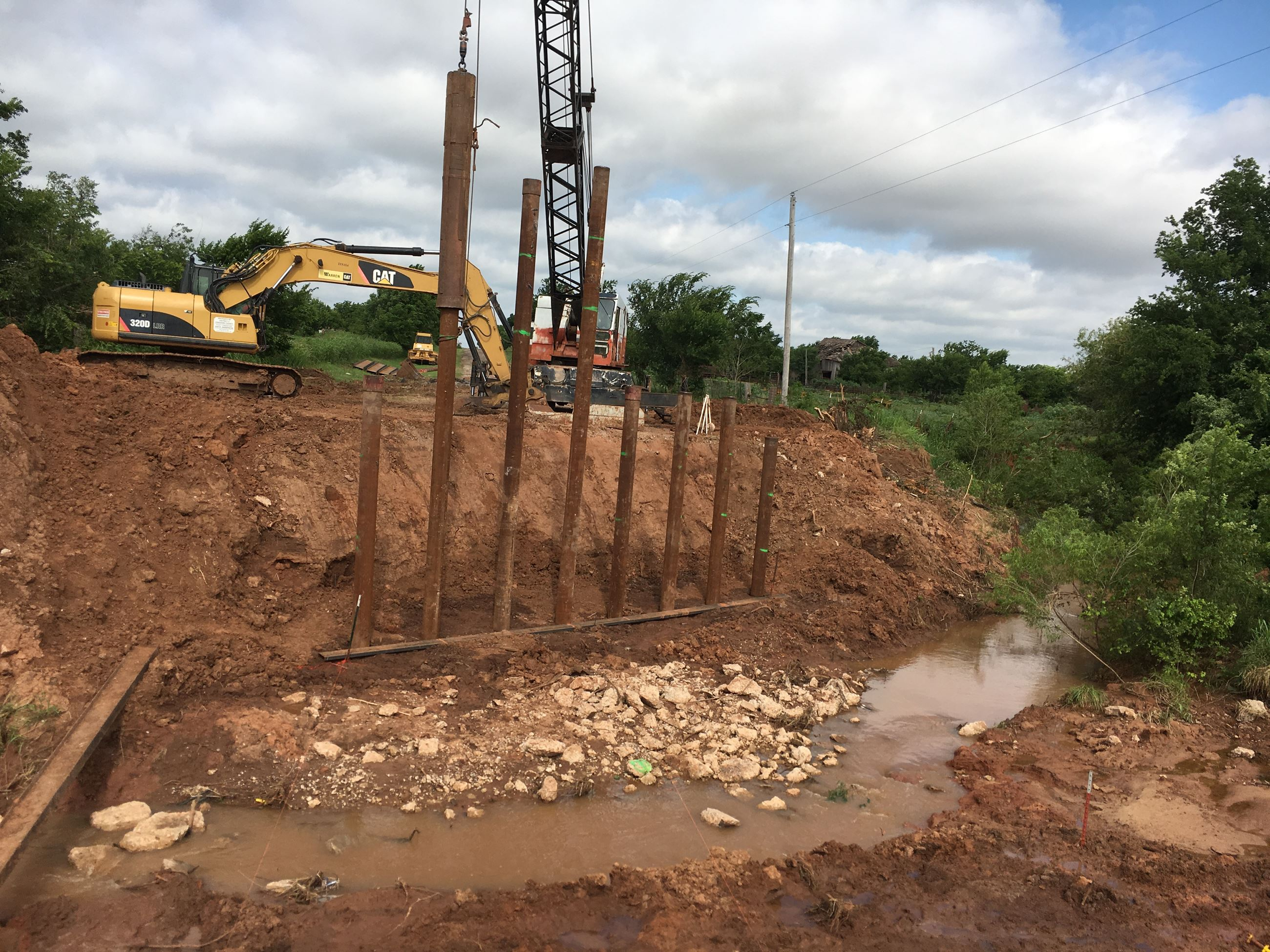 Driving piles for a new bridge