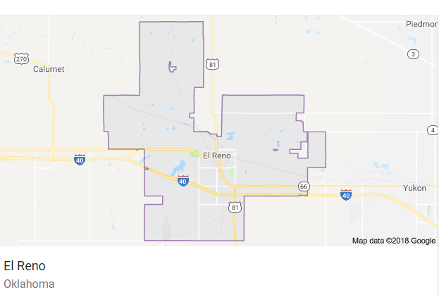 Map of El Reno